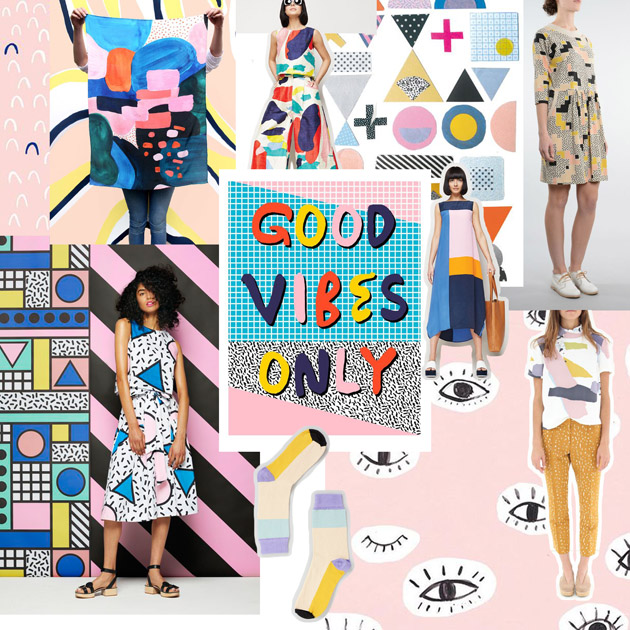 fashion moodboard - a collage of clothes, patterns and shapes
